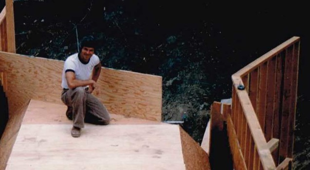 Dan building a home foundation form in the 1970's.