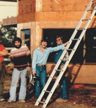 Picture of Dan building a home in the 1970's.